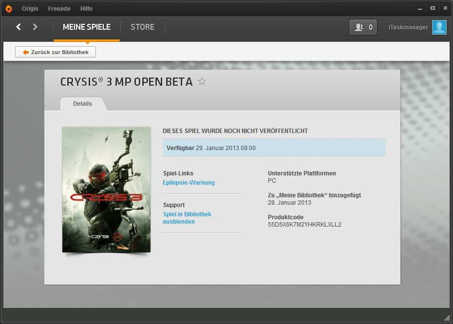 Origin - Crysis 3 Beta