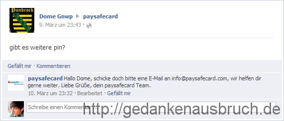 PaySafeCard - Facebook Fanpage - Weitere PIN