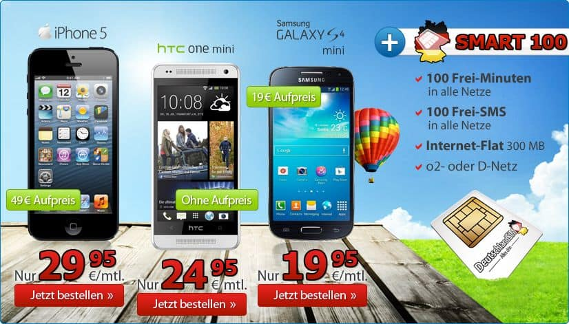 DeutschlandSIM - Angebot im August - HTC One mini - iPhone 5 - Galaxxy S4 mini