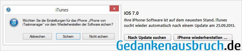 iTunes - iPhone Wiederherstellen