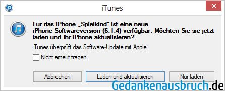 iTunes - iOS Update 6.1.4