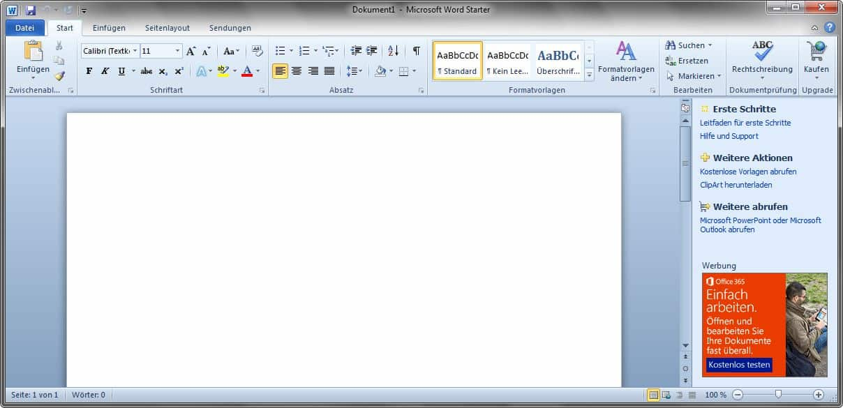 Microsoft Word Starter 2010 - Neues Dokument