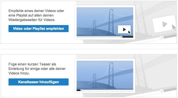 YouTube Einstellungen - Viode, Playlist, Kanalteaser