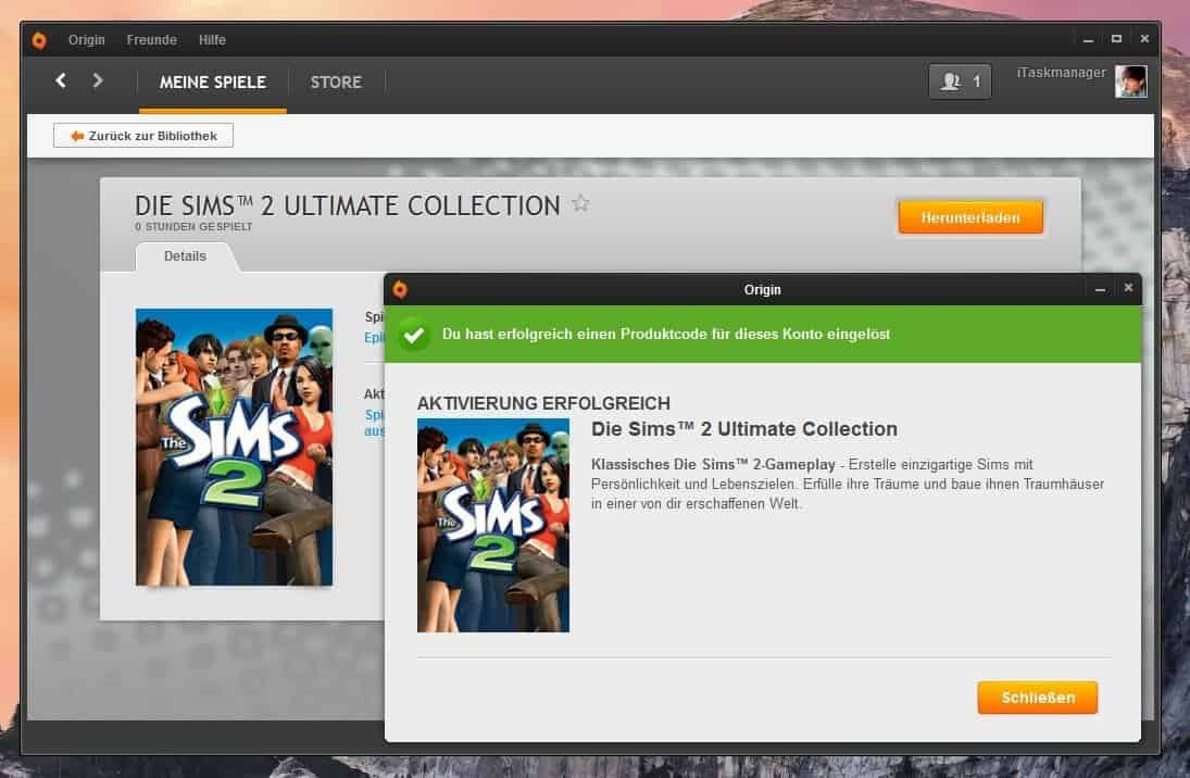 Origin - Die Sims 2 - Ultimate Collection aktiviert