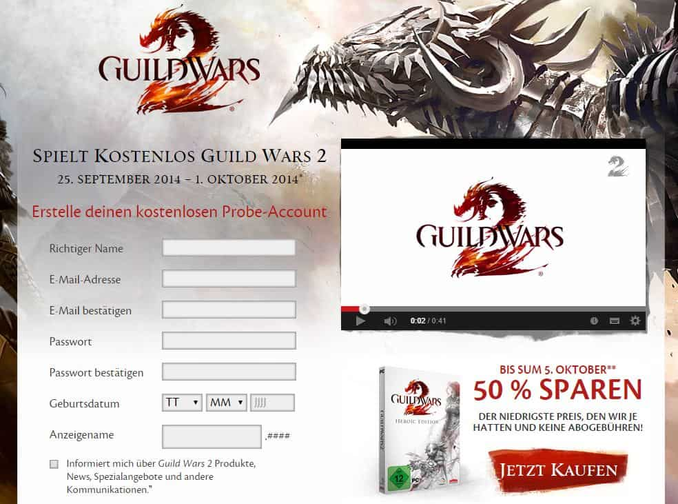 Guild Wars 2 - Probe-Account für 2014