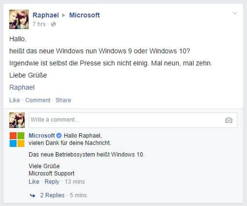 Facebook Windows Fanpage - Windows 9 oder doch Windows 10?