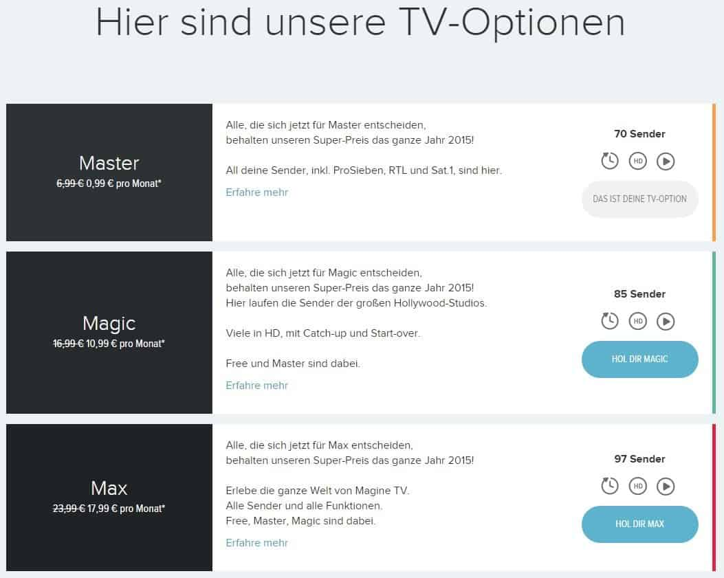 Magine TV-Optionen - 6€ Rabatt-Code / Gutschein / Aktion