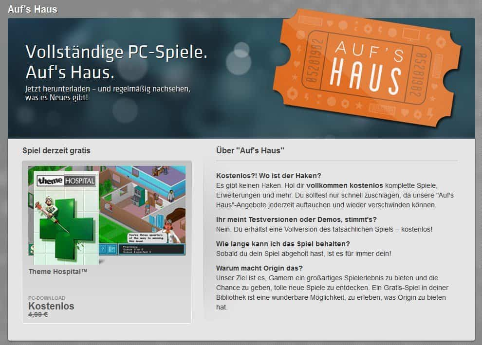 Origin - Theme Hospital - Aufs Haus