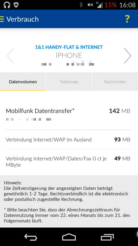 1&1 Control-Center - Handy-Flat & Internet - Ausland