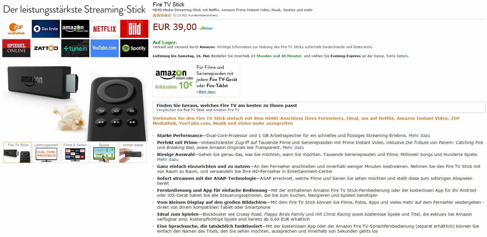 Amazon FireTV-Stick für 39€ - Amazon Instant Video Gutschein