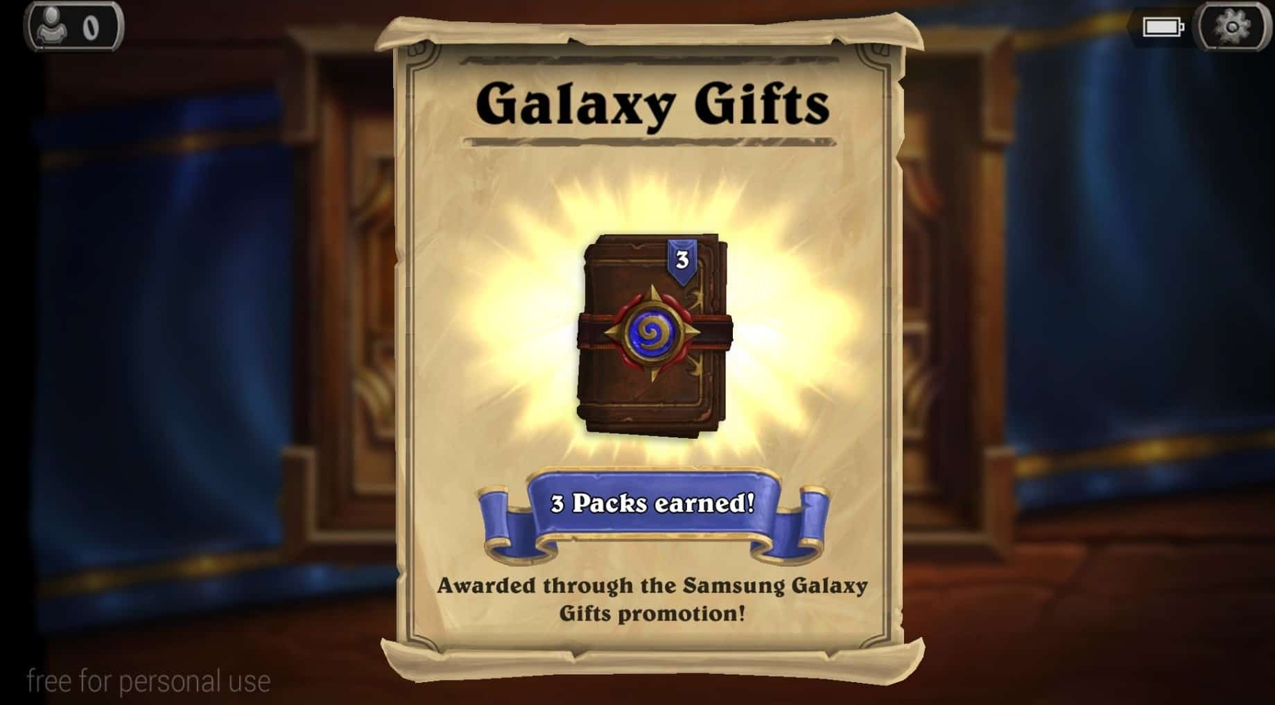 hearthstone galaxy gift 3 packs earned