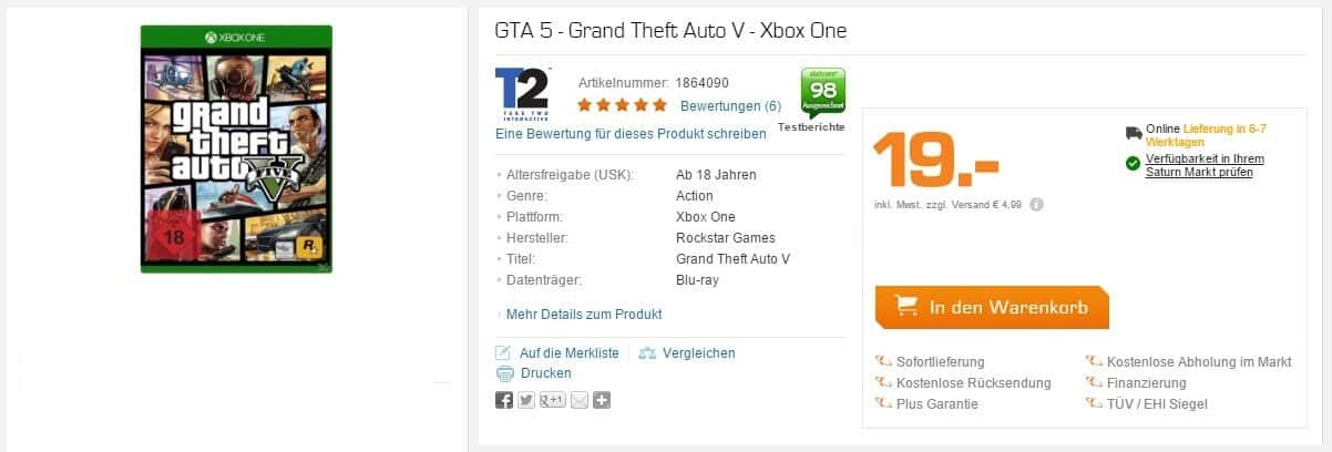 Saturn - Grand Theft Auto V - Xbox One - 19 Euro