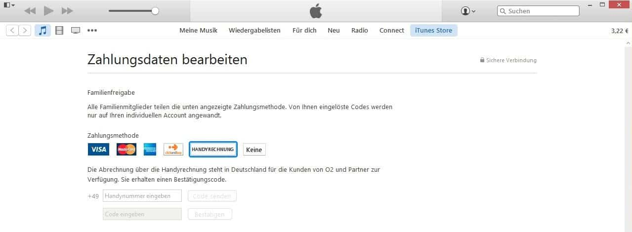 iTunes Accountinformationen - Handyrechnung - o2 Deutschland Telefonica