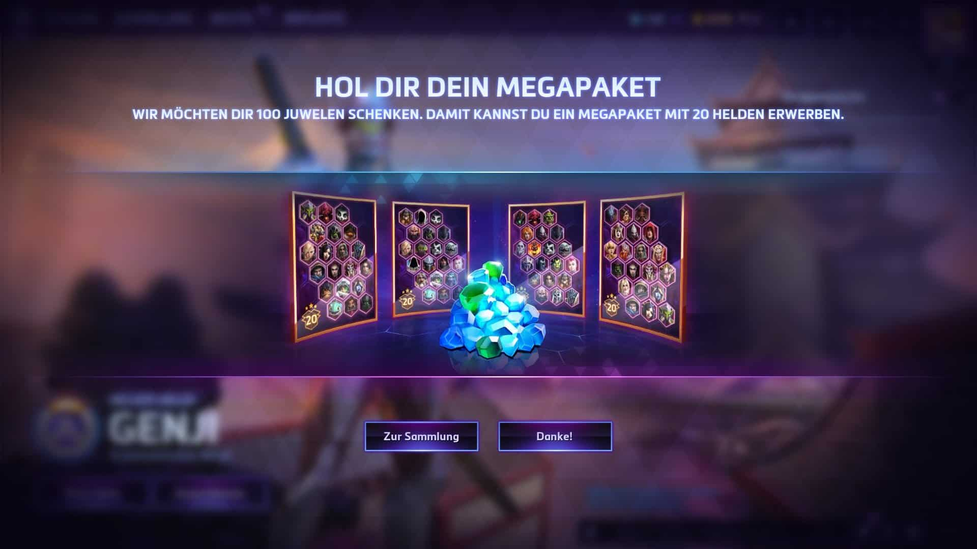 Heroes of the Storm - Megapaket - 100 Juwelen - 20 Helden