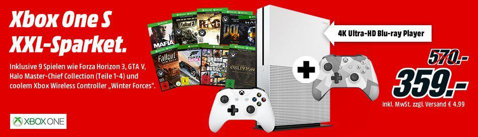 Media Markt - Microsoft Sparpaket - Xbox One S - Neun Xbox Spiele - Winter Forces Controller
