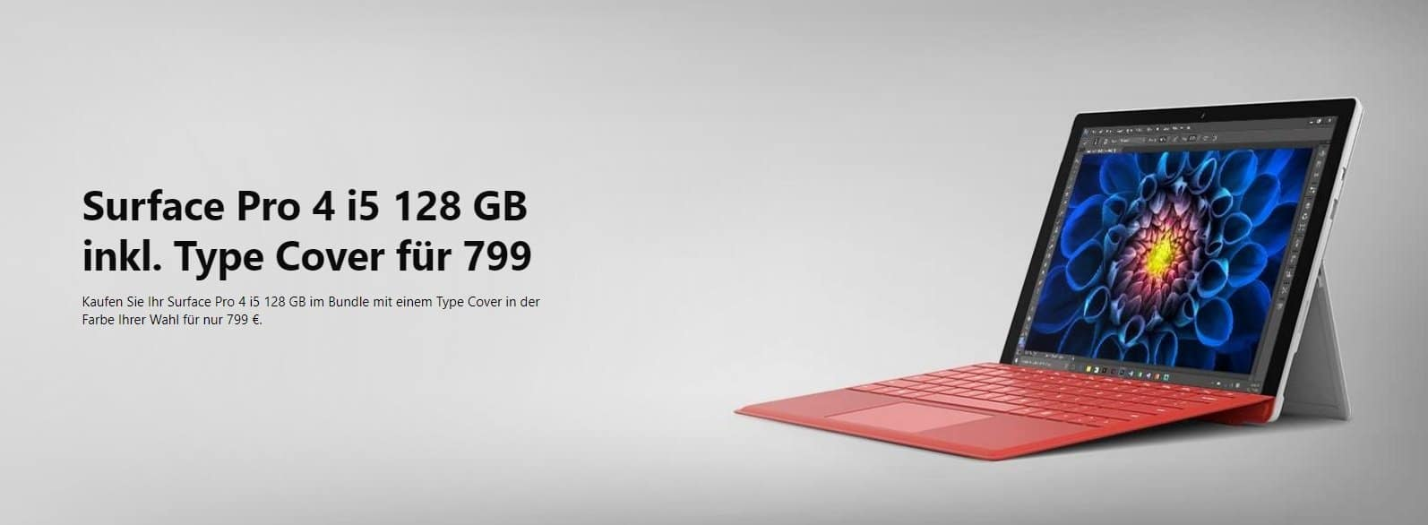 Surface Pro 4 i5 128 GB inklusive Type Cover für 799 Euro