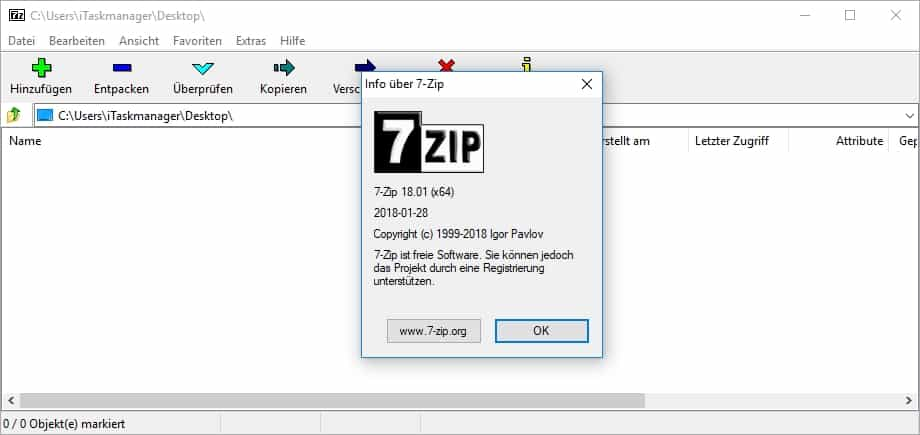 7-Zip Übersicht - Windows 10 - Desktop