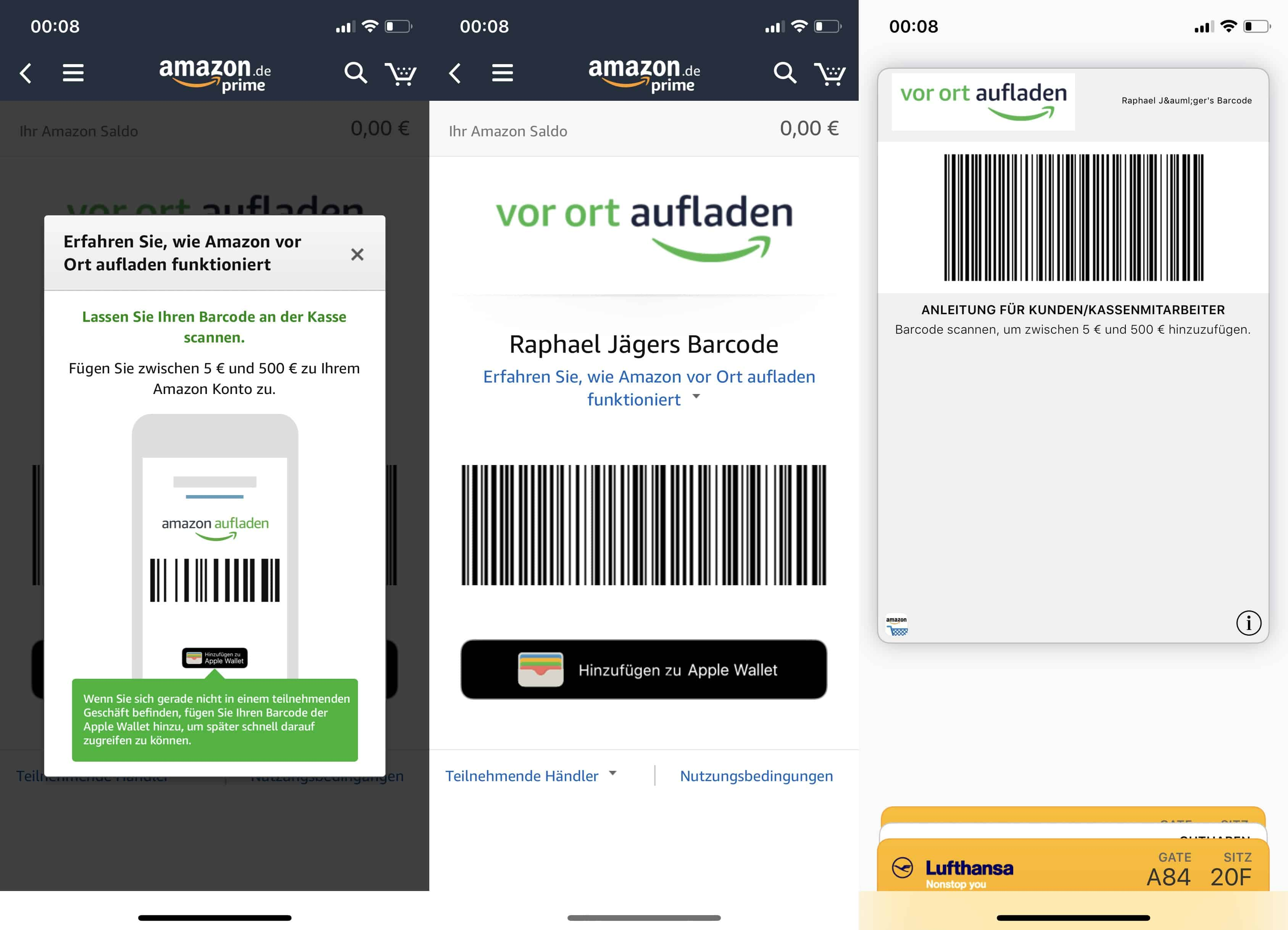 Amazon vor Ort aufladen - Barcode - Apple - iPhone - iOS