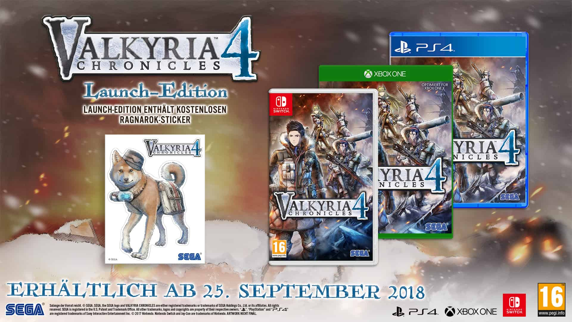Sega - Valkyria 4 - Chronicles - Launch-Edition - Nintendo Switch - Xbox One - PlayStation 4