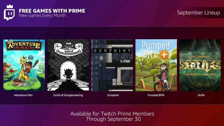 Twitch Prime - September 2018 Lineup