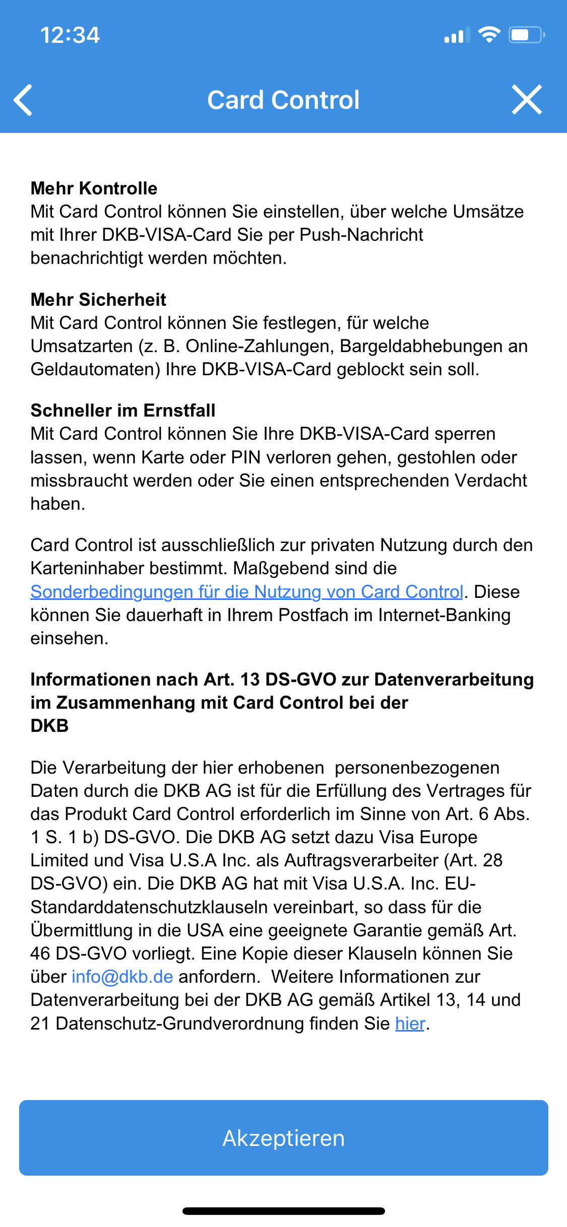 Apple iPhone - DKB-Banking-App - Card Control - Nutzungsbedingungen