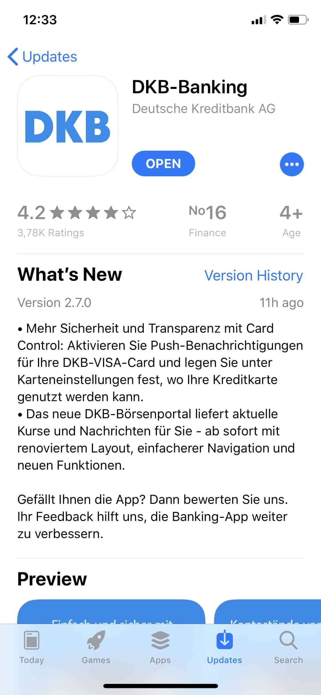 Apple iPhone - DKB-Banking-App - iTunes - Update
