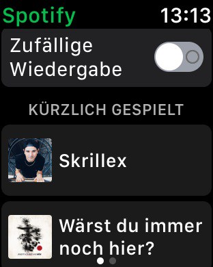Apple Watch - Spotify-App - Startseite