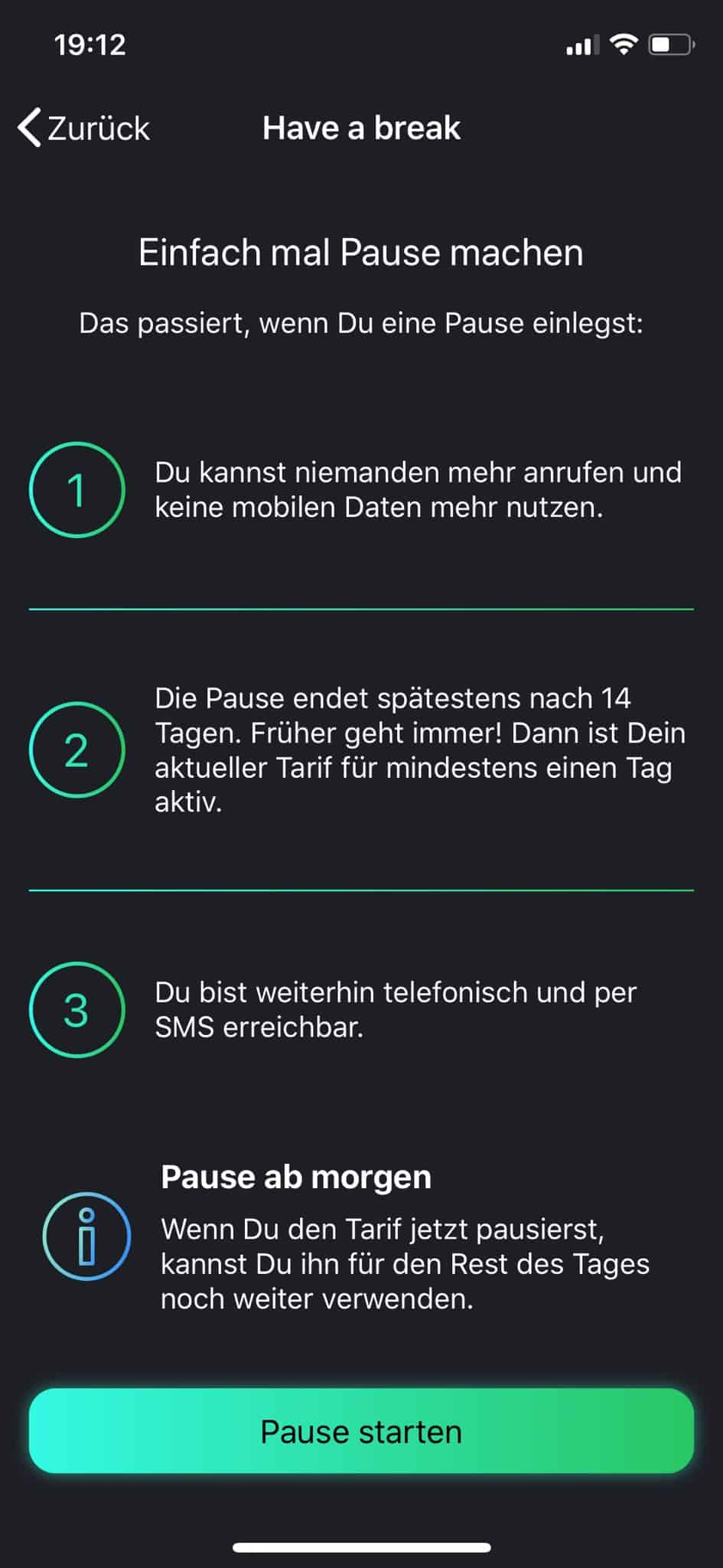 freenet FUNK - Smartphone-App - Have a break - Tarif pausieren