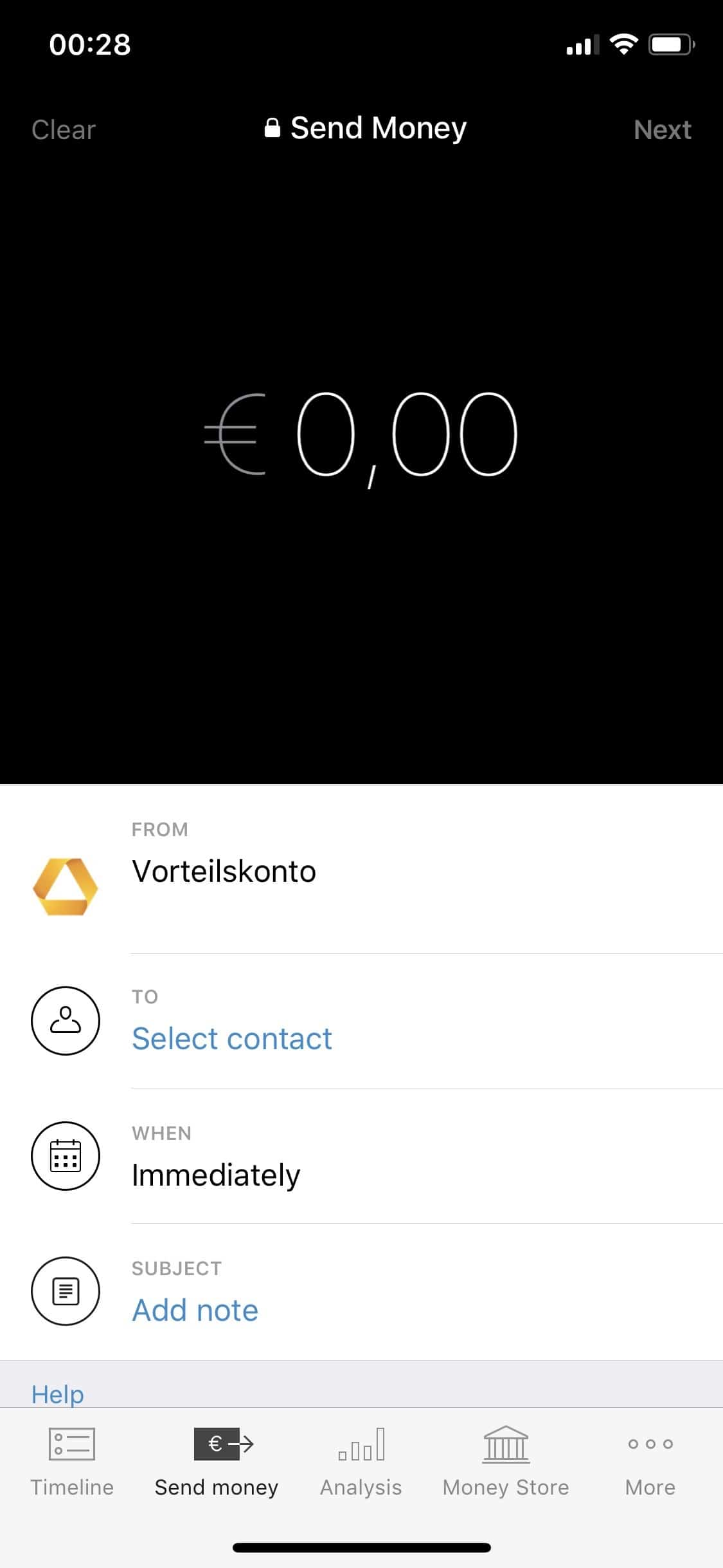 Numbrs - iPhone - iOS-App - Send Money - Geld senden