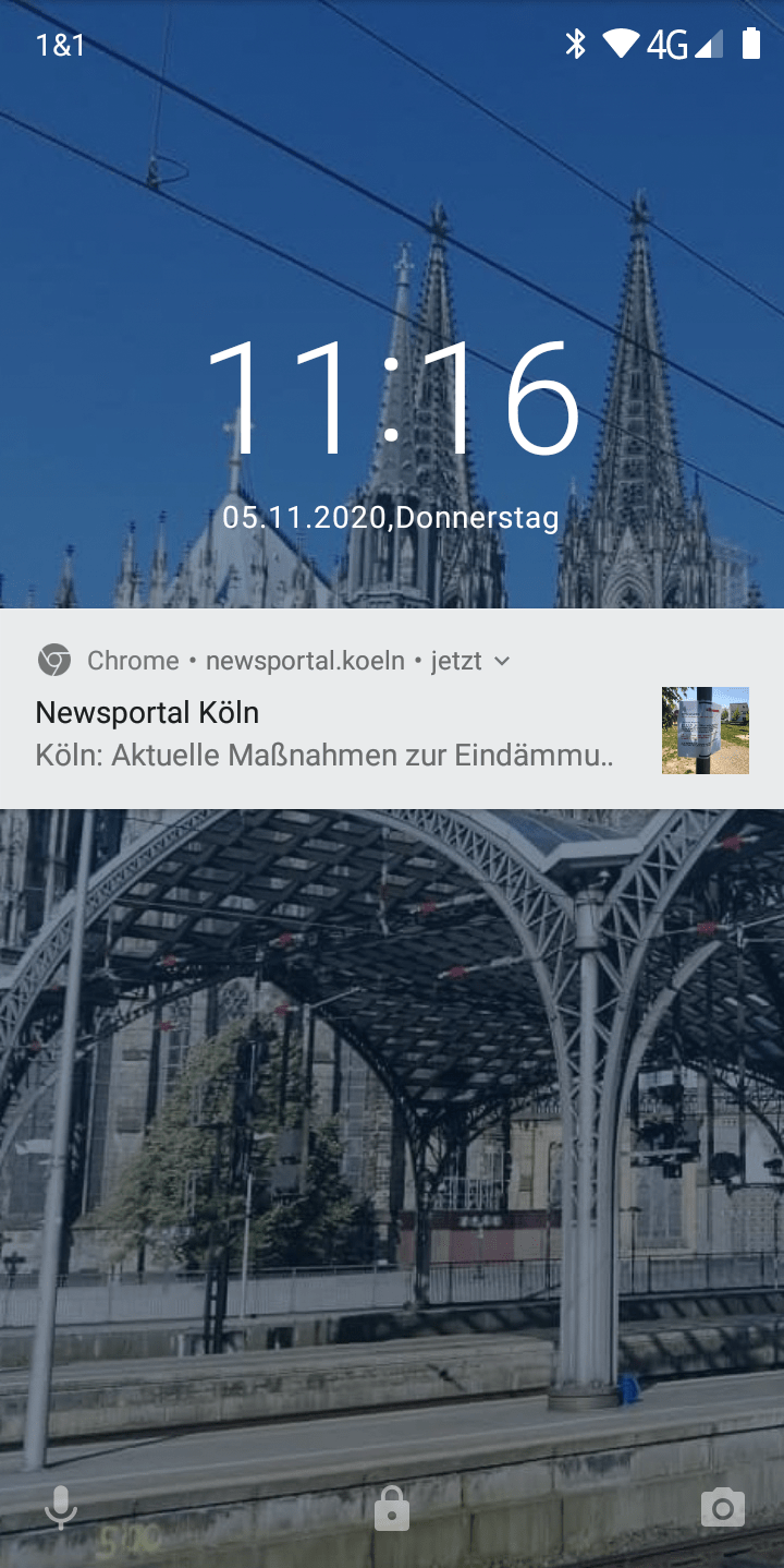 Android - Smartphone - Browser Push Notification - Google Chrome - Sperrbildschirm - November 2020