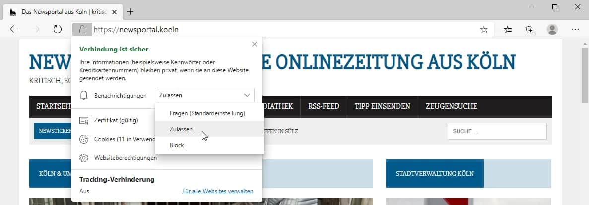 Web Push Notification - Microsoft Edge - Einstellung - November 2020